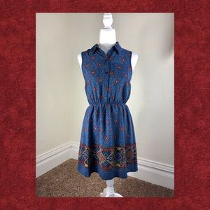 Monteau Sleeveless Aztec Midi Dress Size Small